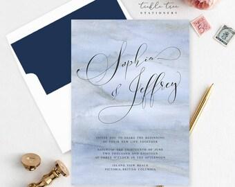 Wedding Invitations, Semi Custom - Blue Shores (Style 13761)