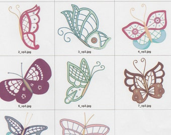 8x8 Lace Butterflies For Machine Embroidery. Downloadable Formats of PES, Jef, Vp3, Hus, Dst
