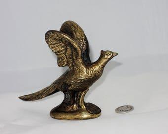 Miniature Brass Pheasant, Vintage Souvenir of Kansas