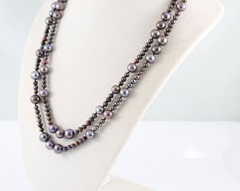 Long pearl necklace, freshwater pearls, hand knotted, purple, handcrafted silver: Simply Adorned