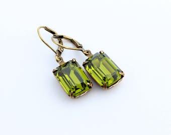 Olivine earrings, Green Swarovski earrings, Fall Wedding, Olive earrings, Olivine Swarovski earrings, olive wedding,  fall octagon earrings,
