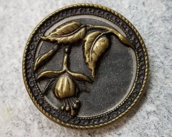 Lovely Antique Brass Floral Picture Button ~ High Relief Brass Fuchsia Flower Pictorial ~ Tinted Background ~ 1-1/8 inch 28mm ~ Coat Button