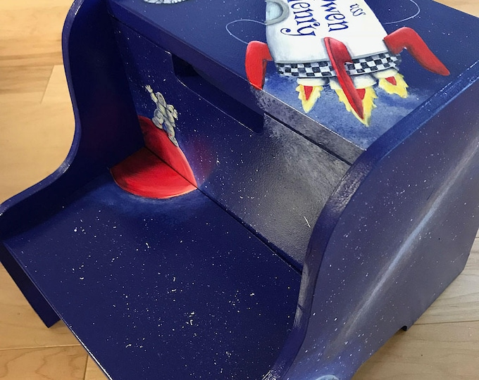 Personalized Step Stool - Rocket in Space