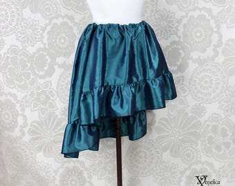 """Steampunk High Low Mini Cecilia Skirt --Teal Blue Taffeta -- Ready to Ship -- Best Fits Up To 45"""" Waist"""