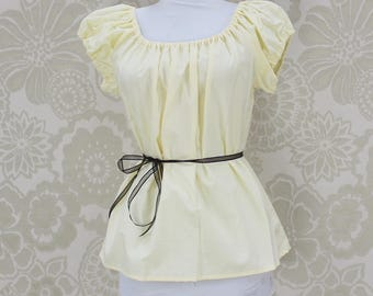 "Renaissance Steampunk Pale Light Yellow Cotton Willow Chemise -- Sz. S -- Fits Bust 33""-36"" --  Ready to Ship"