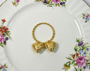Vintage Heart Napkin Rings Gold Heart Napkin Rings Set of 5 Brass Napkin Rings Valentines Day Decor