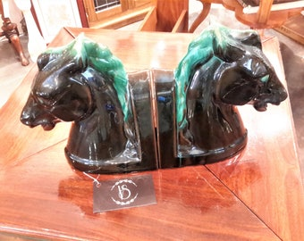 Pair Glazed Terracotta Bookends Horse Heads Black Brown Green