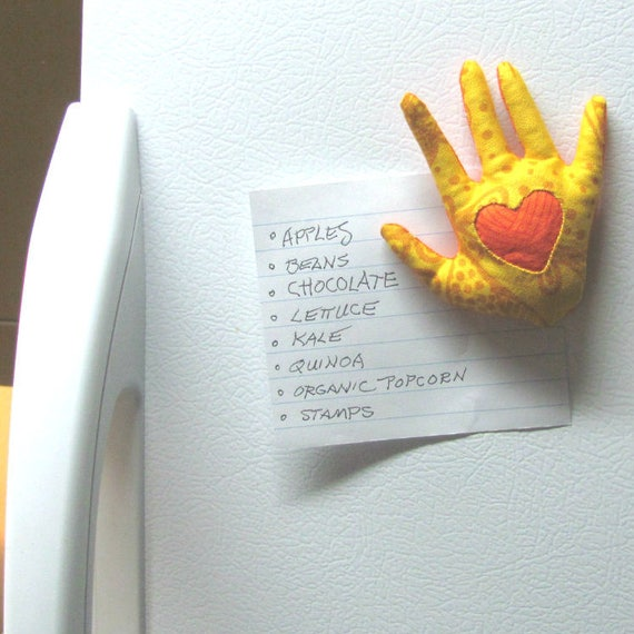 "NEW! ""HAND-Maggie"" ~ Fabric Fridge Magnet ~ Reserved for KAT"
