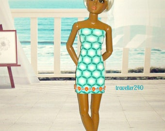 "Seaside Aqua Dress for Vintage 20"" Hasbro Lorifina, Handmade Doll Clothes in Ocean Turquoise, White by traveller240"