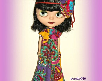 """Boho Blythe Hippie Girl Maxi Dress, Handmade for 12"""" Doll, Adult Collectors, Blythe Clothes, Flower Girl Outfit, Psychedelic - traveller240"""