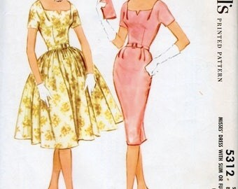 Beautiful Vintage 1960s McCall's 5312 Slim Sheath Dress  or Full Skirted Cocktail Dress Sewing Pattern B31