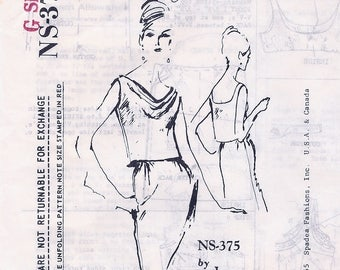 Fabulous Unused Vintage 1960s Spadea Designer Irene Gilbert Two Piece Sleeveless Cowl Neck Day or Cocktail Dress NS-375 Sewing Pattern B36.5