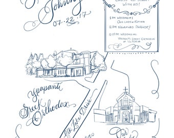 Custom Map   Hand Drawn and Hand Lettered Art Map.