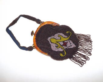 Vintage 1930s heavily beaded small handbag bag brown pink yellow flapper purse with tassel