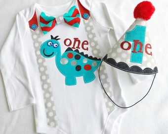 First Birthday Party Dinosaur Theme Bodysuit and Party Hat Set. 1st Birthday Boys Dinosaur Outfit