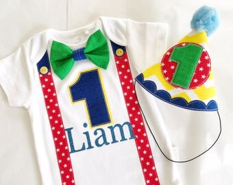 Circus Theme Baby Boys First Birthday Party Outfit