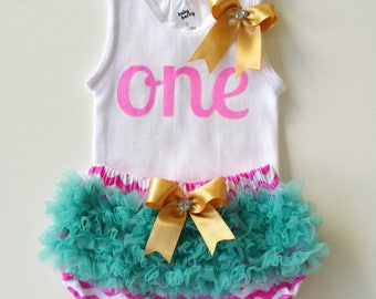 First Birthday Party outfit in Pink, Aqua and Gold 1st Birthday Baby Girl