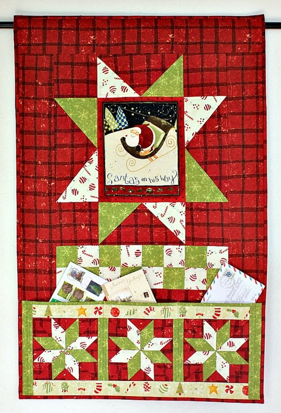 Christmas card holder quilted wall hanging pocket organizer - Christmas card wall holder ...