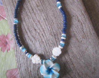 plumeria and coconut blue beach necklace, island style jewelry, beach boho inspired, Hawaiian style