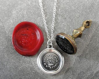 Bee Wax Seal Necklace - Touch My Wax You'll Feel My Sting - antique Victorian wax seal charm jewelry Apiary theme by RQP Studio
