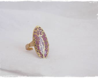 Vintage Brass Ring, Polymer Clay Ring, Vintage Style Ring, Filigree Brass Ring, Floral Cabochon Ring, Pastel Purple Ring, Lilac Clay Ring