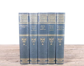1910 Harvard Classics Book Set / 5 Volume Set / Collier & Son / Old Antique Black Books / Antique History Books / Old Books Vintage Books