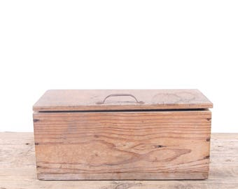 Vintage Wooden ToolBox / Large Wood Storage Box / Wood Tool Box / Tool Display Prop / Unique Storage / Unique Mens Gift Primitive Box