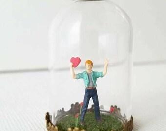 Miniature World Man Heart Love Valentine Romantic Engagement Anniversary Gift Antique Brass Handmade One of a Kind Art Nature Railroad Moss
