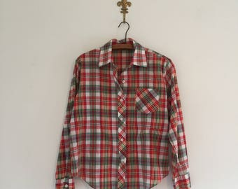 Vintage 70's Red Plaid Button Up Shirt M
