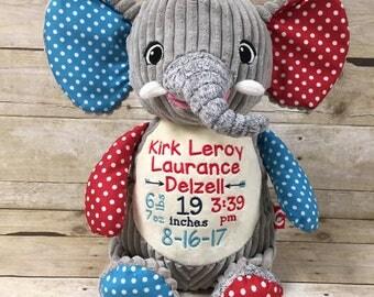 Elephant Birth Stat Stuffed Animal, Personalized Baby gift, Baby keepsake, Embroidered Elephant stuffed animal