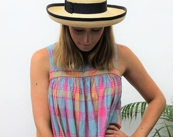 Straw Hat with Navy Band Detail