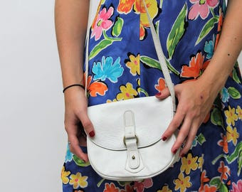 White Leather Small Satchel Bag