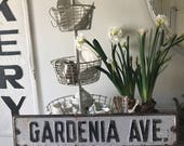 "Vintage Street Sign - 'GARDENIA AVE.' - 28"" x 6 - Authentic Original Street Sign"