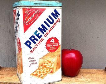 NABISCO Premium Saltine Crackers TIN | English & Spanish Text | Metal Storage Tin/Box | Retro Kitchen Décor | Vintage 1960s Cracker Canister