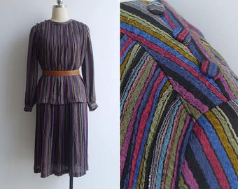 10-25% OFF Code In Shop - Vintage 80's Rainbow Nine Layer Cake' Striped Plissé Pleated Dress S or M