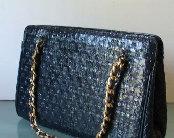 Vintage Basketweave Navy Blue Patent Leather Handbag With Brass Accents