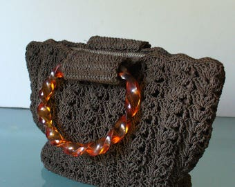 Vintage Chocolate Brown Crochet Handbag With Lucite Handles