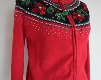 salvation armani vintage cardigan - holiday cardigan - holly christmas sweater - vintage christmas - red holly sweater - womens sweater