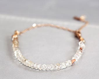 Topaz Bridal Bracelet - Rose Gold Wedding Jewelry - Pretty Bridal Bracelet - November Birthstone -  Gemstone Wedding Jewelry