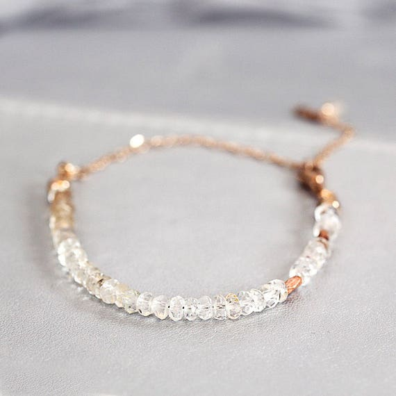 Topaz Bridal Bracelet - Rose Gold Wedding Jewelry