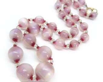 Vintage Art Deco Moonstone Cranberry Opalene Glass Bead Necklace