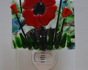 Field of Poppies Fused Glass Night Light