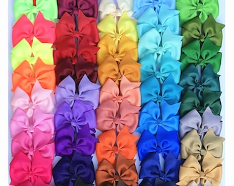 Set of 6, 12 ,24 pcs 4 inch Pinwheels Bows, teen hair bows, back to school, Boutique bows, Pig Tail Bows,Wholesale ,50 colors to choose
