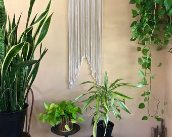 "Macrame Wall Hanging - Natural White Cotton Rope on 18"" Wooden Dowel w/ Beads - Boho Home, Nursery Decor - Ready To Ship"