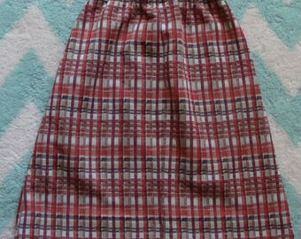 vintage MOD PLAID SKIRT comfy casual jon peters pull-on xs S