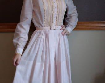 VINTAGE SHIRTWAIST DRESS belted sheer l'aiglon S 1950's 50's (B3)