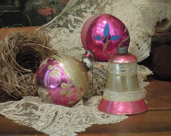 Three Vintage Mercury Glass Ornaments / Pink and Silver Bell Christmas Ornament / Round Ornaments