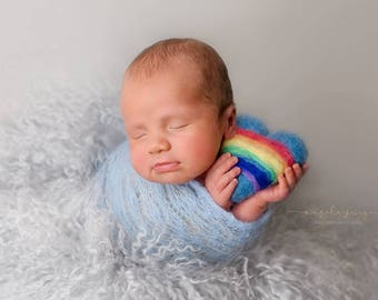 RTS in 3 days Felted hearts and crocheted rainbows in different sizes Photo prop Newborn Baby Newborn photography prop FeltSoapGood
