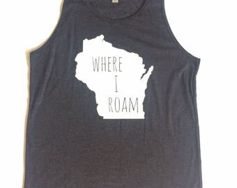 Tank Top, Wisconsin Apparel, Wisconsin, ADULT  tank, mens clothing, mens, Summer tank