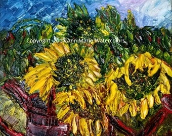 Sunflowers in watering can, 10 x 10 palette knife oil painting